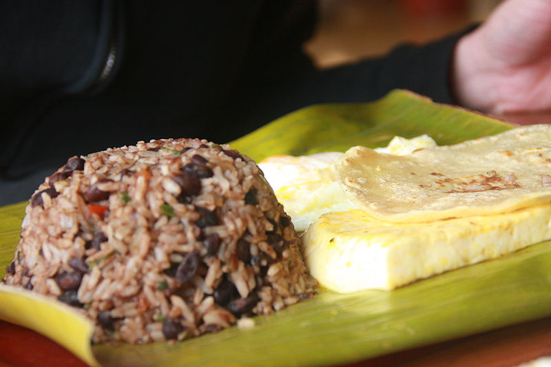 Traditional Costa Rican breakfast - Gallo pinto